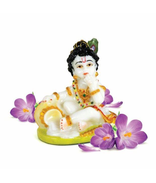 Ashirwad Marble Bal Gopal Idol White and Green