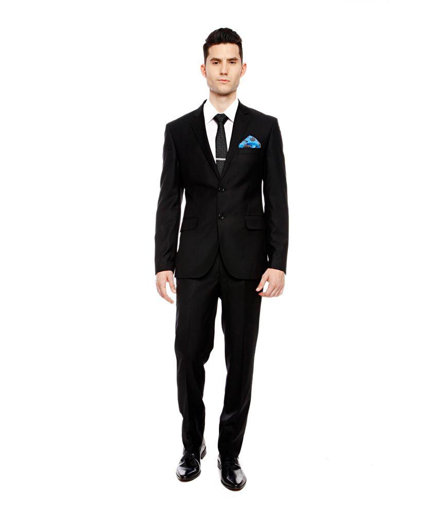 Brahaan BLUE TAG Black Slim Fit Single-Breasted Formal Suit