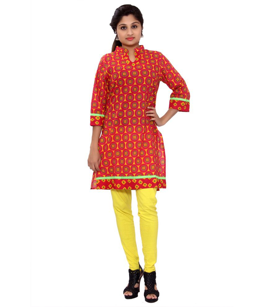 Pakhi Jaipur Red Cotton Bagru Printed Chinese Collar Kurti