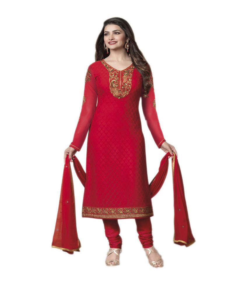84e2485045 Vinaytm Prachi Desai Red and Brown Brasso Embroidered Straight Unstitched Salwar  Suit-Dress Material Dupatta - Buy Vinaytm Prachi Desai Red and Brown Brasso  ...