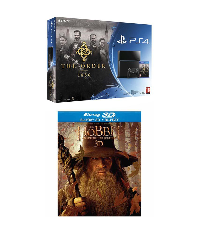 Sony Playstation 4 (PS4) 500 GB with Order 1886 Bundle & Hobbit - An Unexpected journey Blu-ray 3D