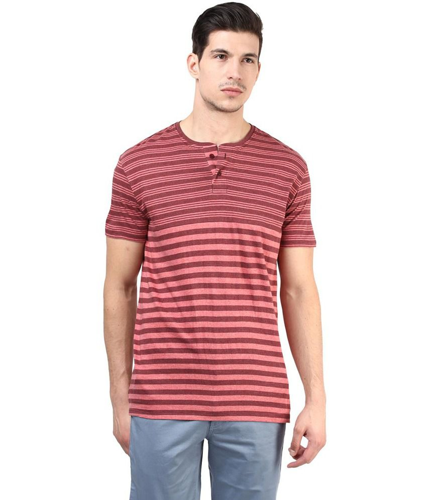Tshirt Company Red Cotton Half Sleeve Henley T-Shirt