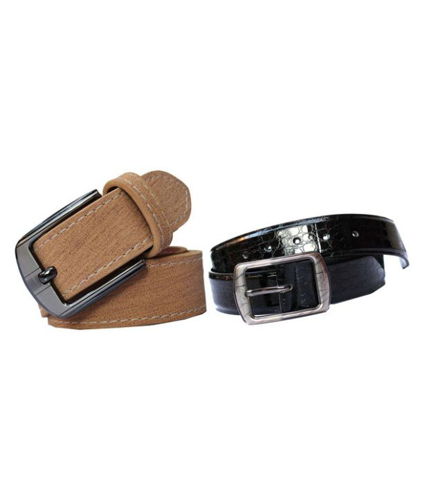 Winsome Deal Beige And Black Leather Belt For Men (Combo of 2)