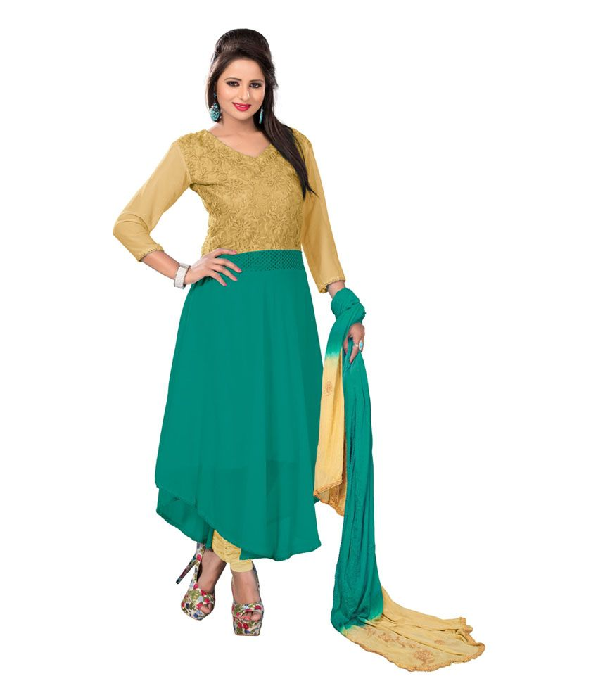 Bigdeal Green Chiffon Embroidered Salwar Suit