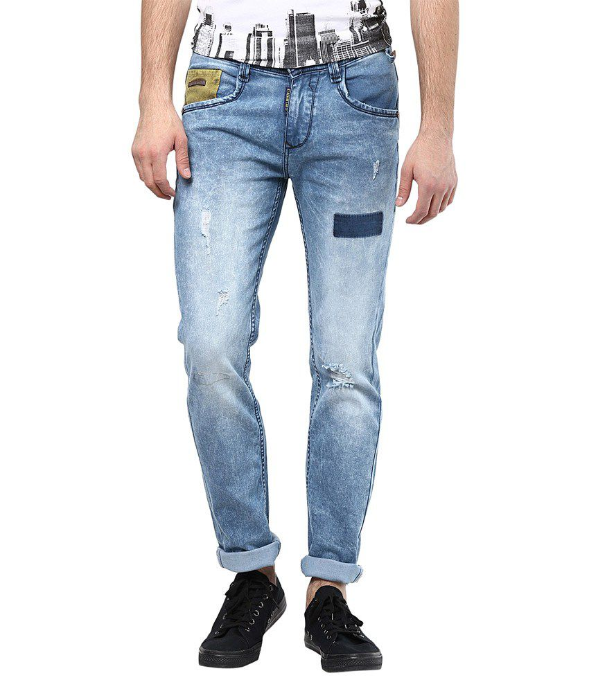 Code 61 Blue Cotton Slim Fit Faded Jeans