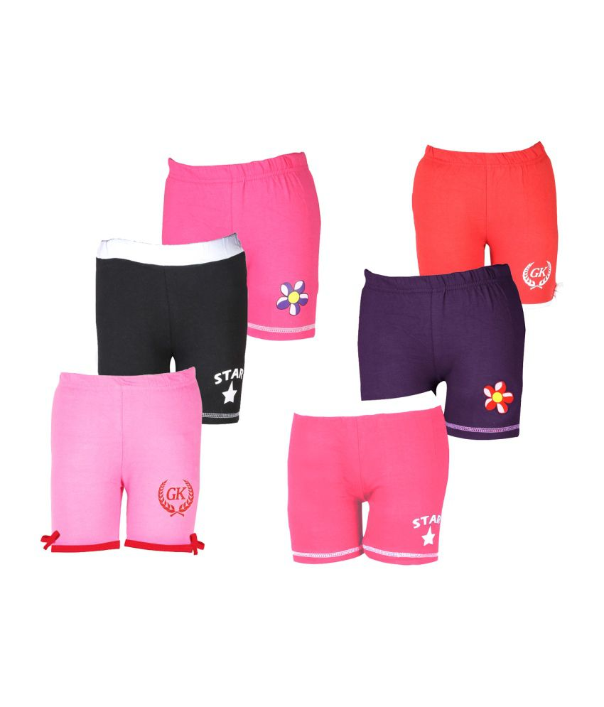 Goodway Cotton Elastic Shorts For Girls Pack Of 6