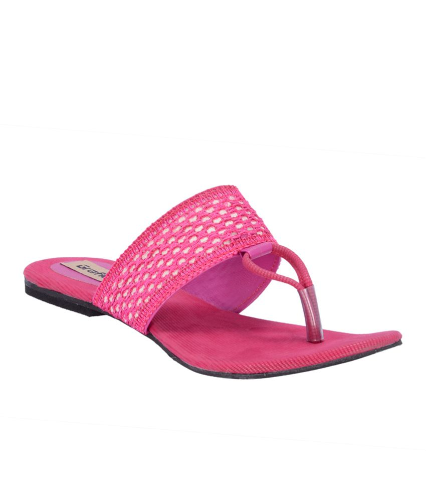 Grafion Casual Pink Slip-on Flat Sandals