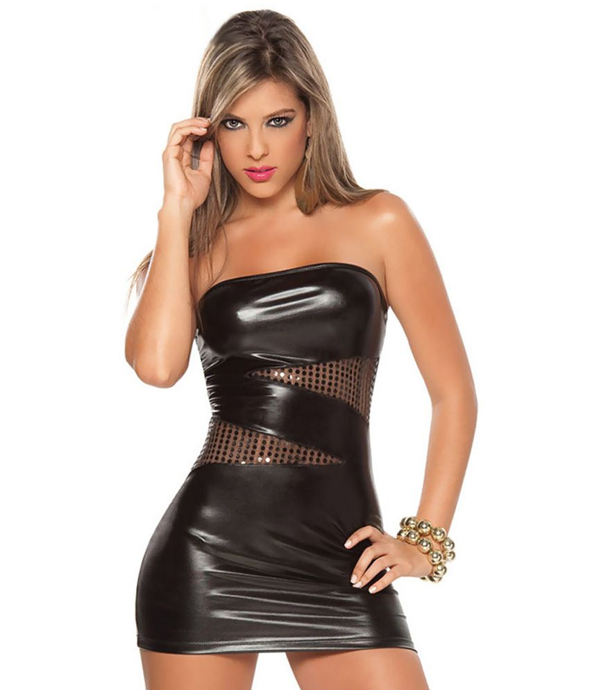 10bf014d8726 LadyD Faux leather Black Dress - Buy LadyD Faux leather Black Dress Online  at Best Prices in India on Snapdeal
