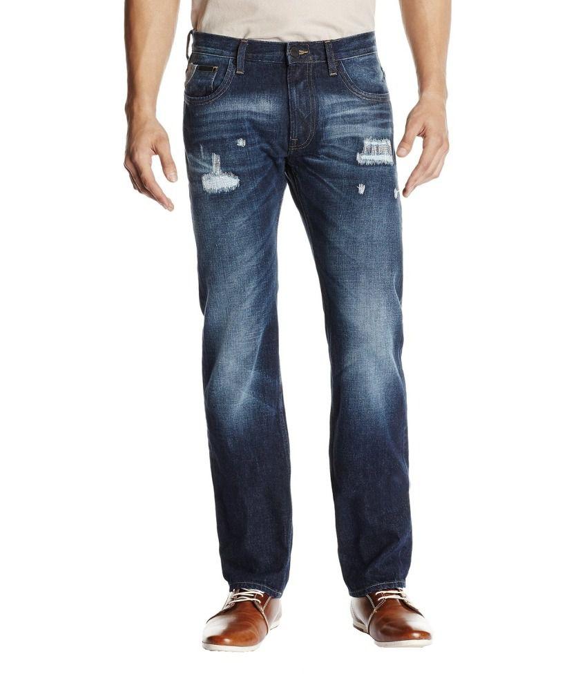 Lee Blue Cotton Straight Fit Jeans