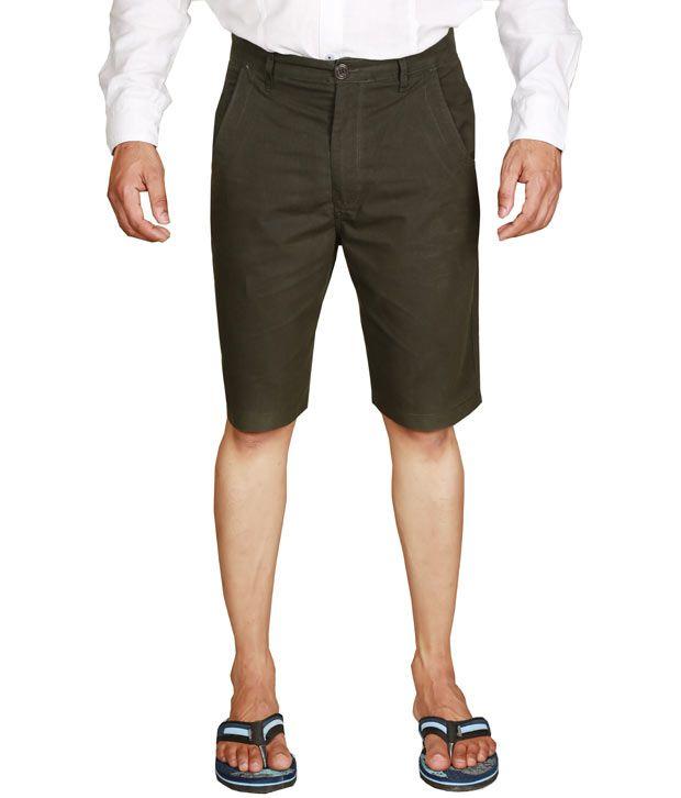 S A True Fashion Brown Cotton Checks Shorts
