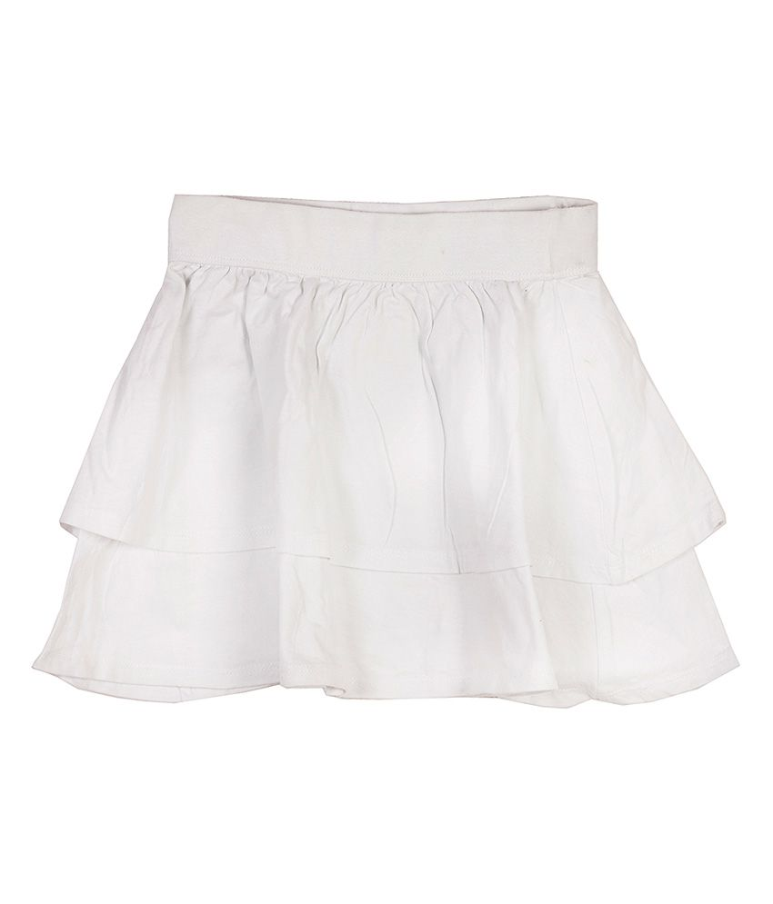 Sera White Cotton Solids Layered Skirt