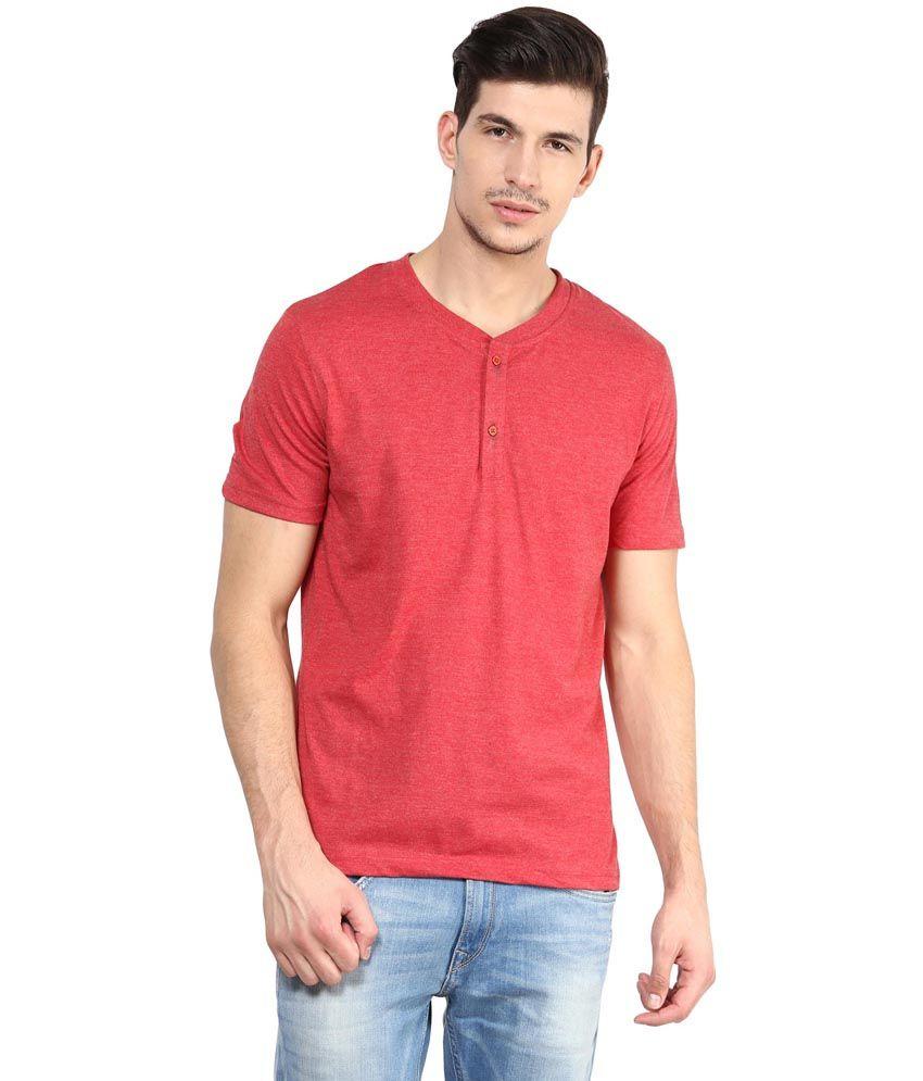 Yellow Submarine Red Cotton Henley T-Shirt