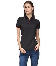 Scott International Black Cotton Solids Half Sleeve Polo T-Shirt