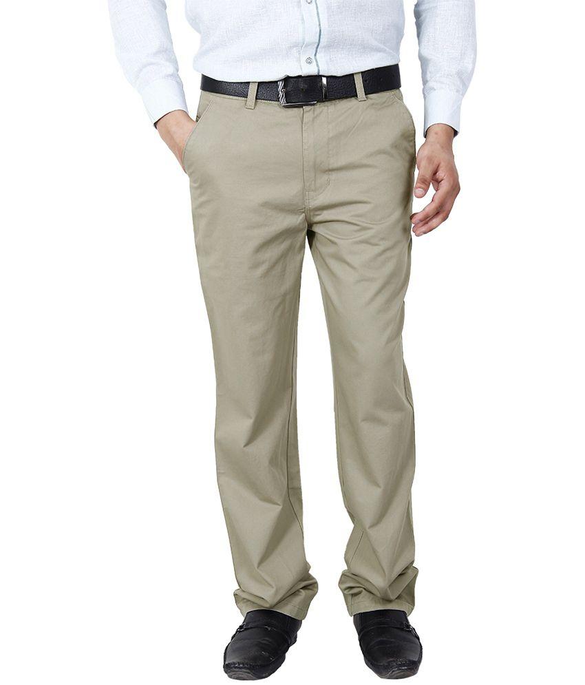 Crocks Club GoldenRod Cotton Regular Fit Formal Trouser