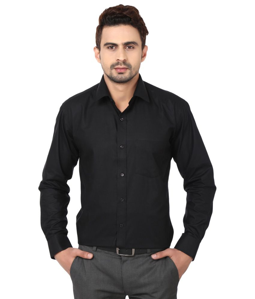 6ba9284276 Hancock Black Cotton Blend Men Formal Shirt - Buy Hancock Black Cotton  Blend Men Formal Shirt Online at Best Prices in India on Snapdeal