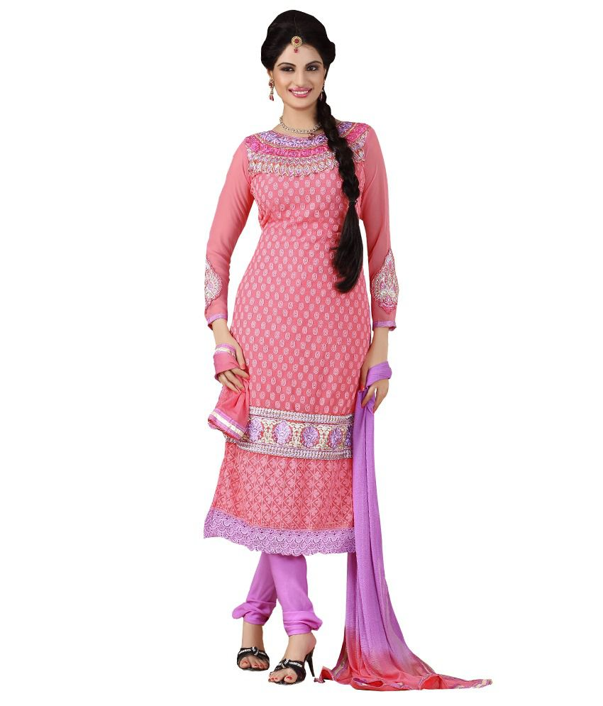 Jiya Pink Georgette Embroidered Dress Material