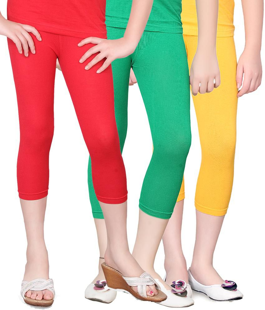 Sini Mini Multi color Cotton Capris - Pack of 3