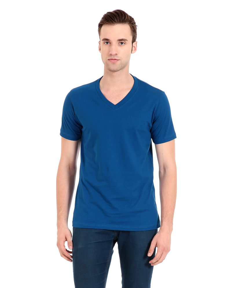 Zeug Fashion Royal Blue V-Neck T-shirt