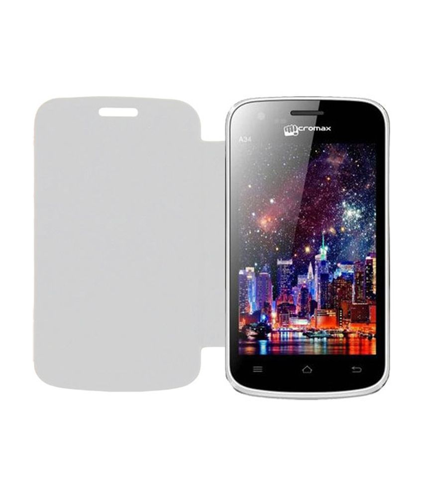Acm Flip Case for Micromax Bolt A34 Mobile Front  amp; Back Flap Folio Cover   White available at SnapDeal for Rs.389