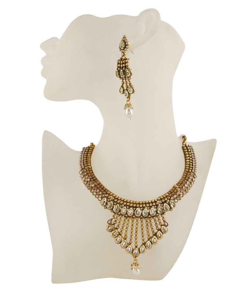 Adwitiyacollection Gold Copper Necklace Set