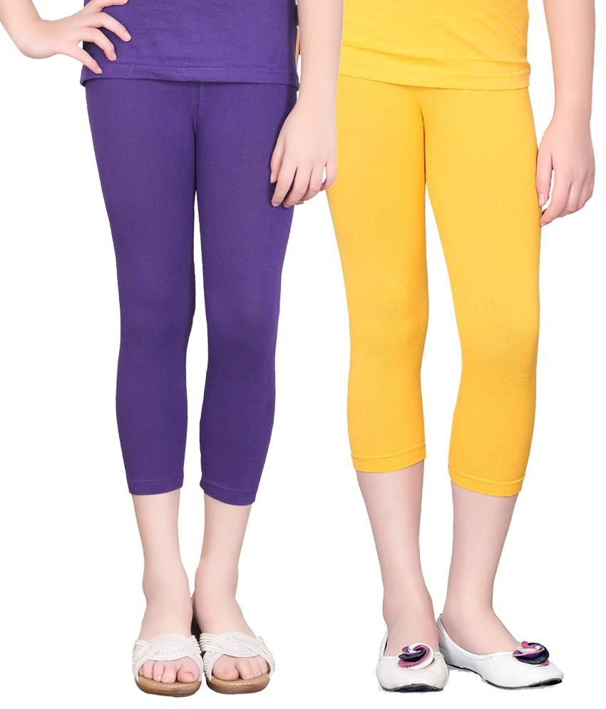 Sinimini Cotton Elastic Capris For Girls - Set Of 2