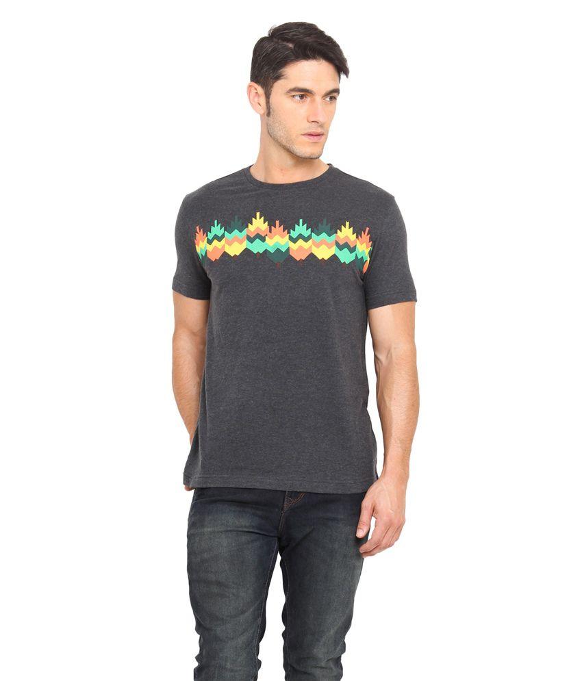 Smokestack Black Cotton Round Neck Half Sleeves Printed T-Shirt