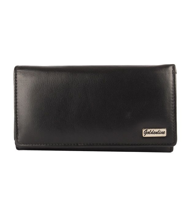 Spazio Leather Black Leather Casual Traveller Wallet For Women