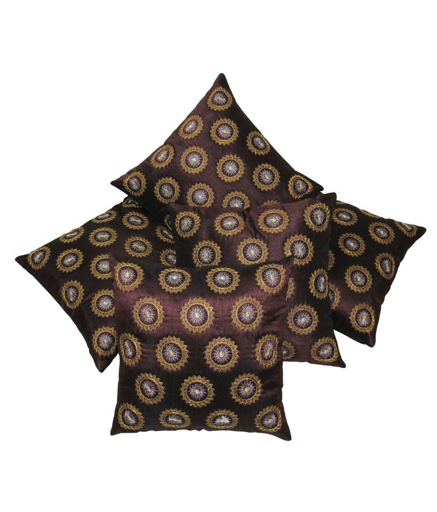 Zikrak Exim Brown Small Round Floral Embroidered Cushion Covers Set Of 5 (40X40 Cms)