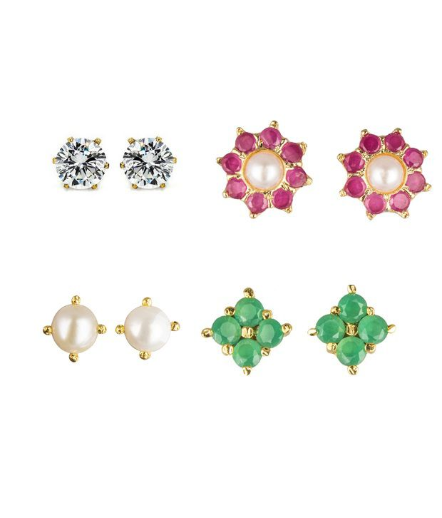 Archi Collection Combo of 4 pair of Cz, Ruby, Emerald, Pearl Stud Earring