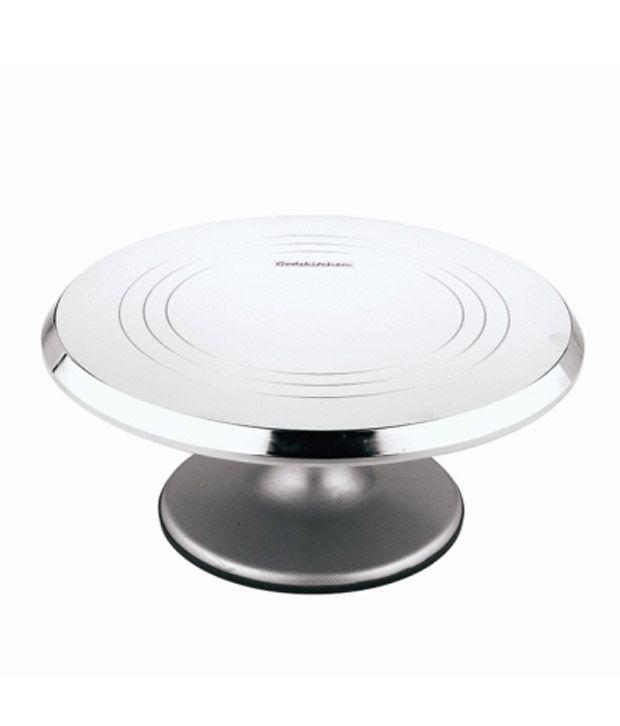 Godskitchen Stainless Steel Metallic Rotating Cake Stand Turn Table
