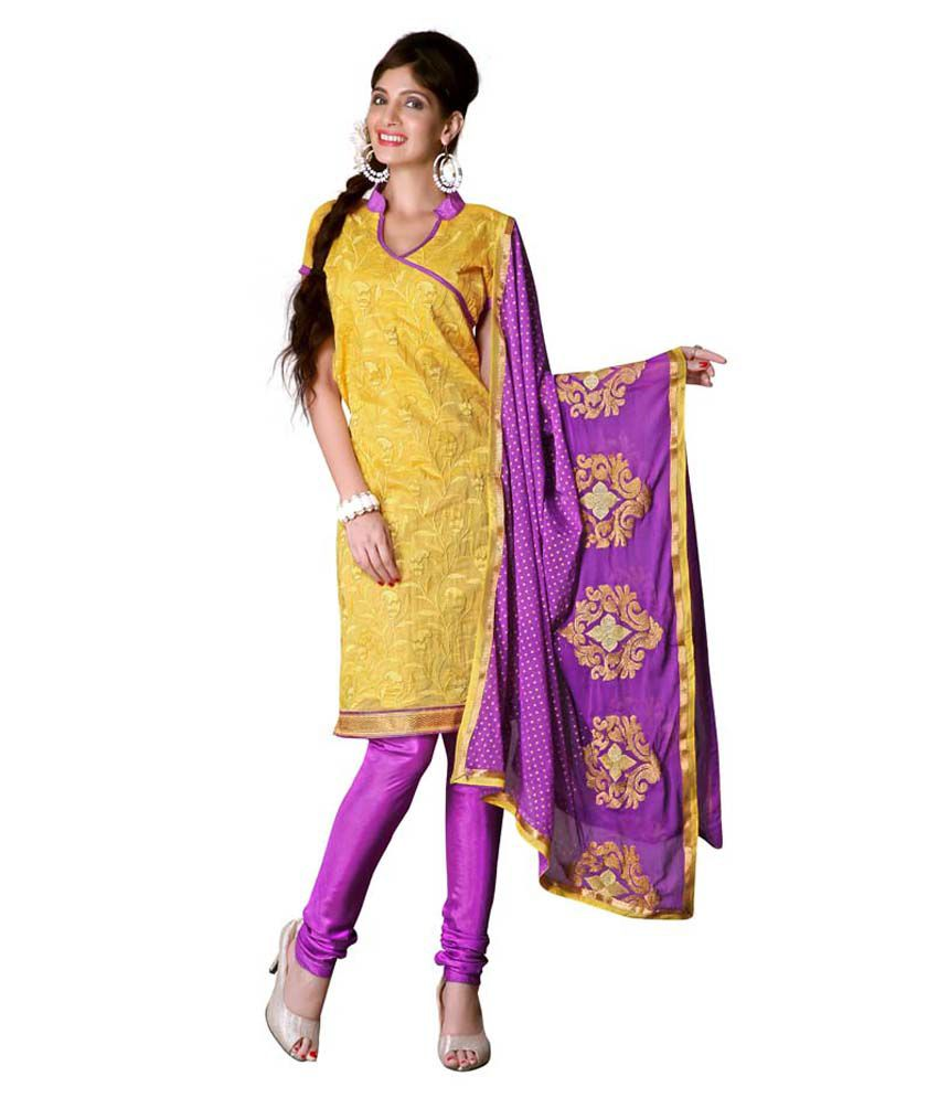 Venketesh Marketing Yellow Chanderi Unstitched Dress Material