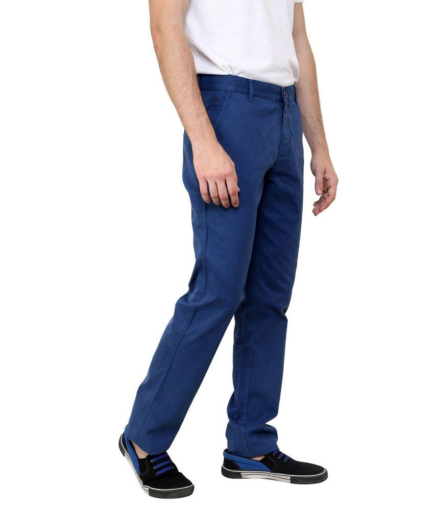 Cotton County Premium Blue Cotton Regular Fit Formal Trouser