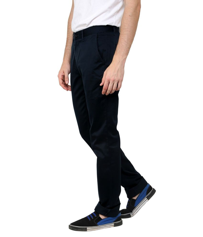 Cotton County Premium Navy Cotton Regular Fit Formal Trouser