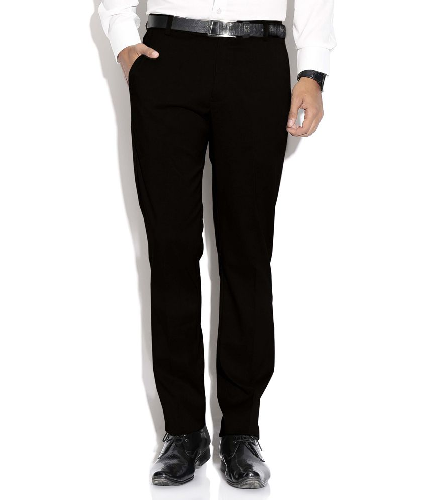 Fizzaro Black Regular Flat Trouser