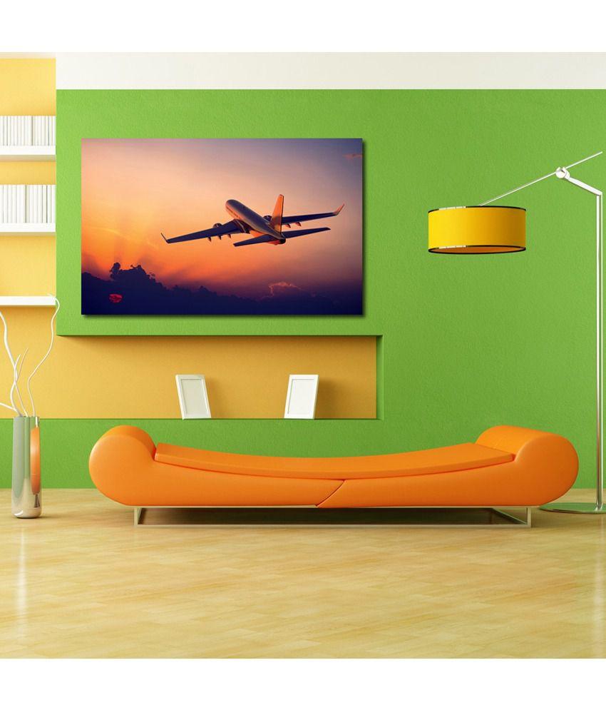 999Store Flying Aeroplane Printed Modern Wall Art Painting - Large Size