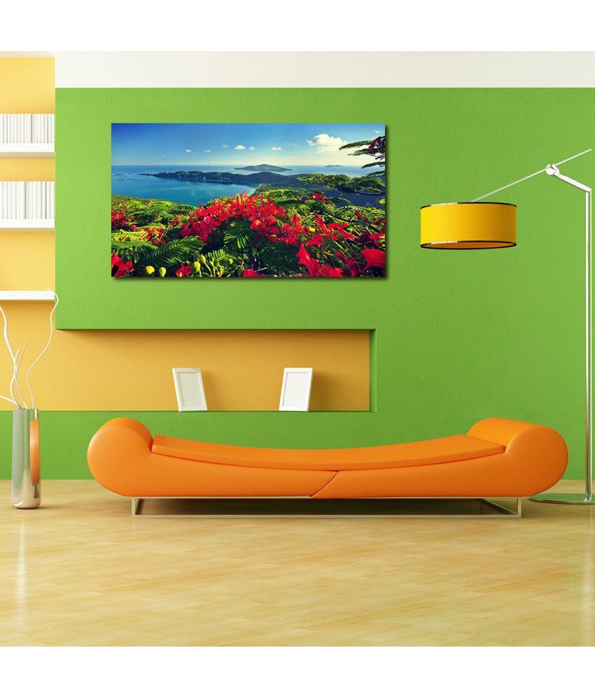 999Store Red Flower Printed Modern Wall Art Painting - Large Size