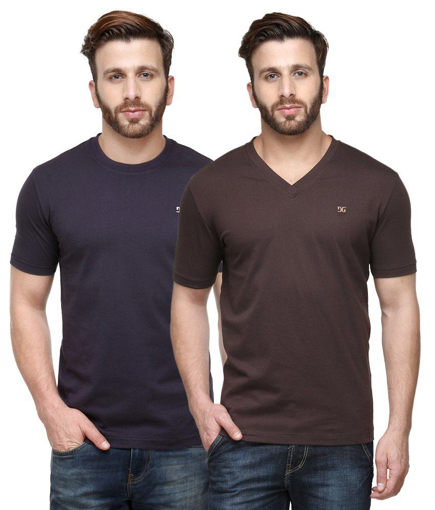 Dazzgear Combo of Regular Fit V-Neck and Round Neck T-Shirts - Purple & Brown