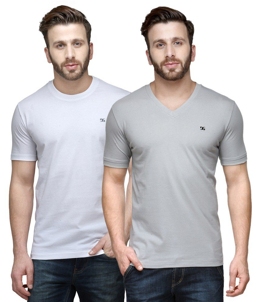 Dazzgear Combo of Regular Fit V-Neck and Round Neck T-Shirts - White