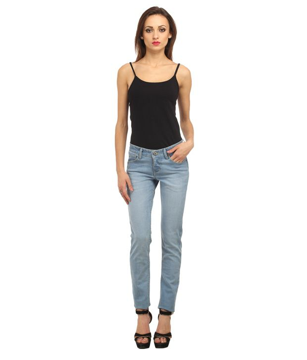 65950a6442df Buy Ladybug Blue Stretch Skinny Washed Jeans Online at Best Prices in India  - Snapdeal