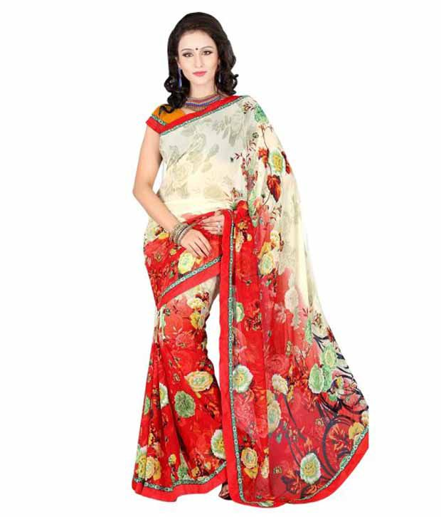 Aamrapali Saree Red Banglore Silk Kutch Embroidered Saree With