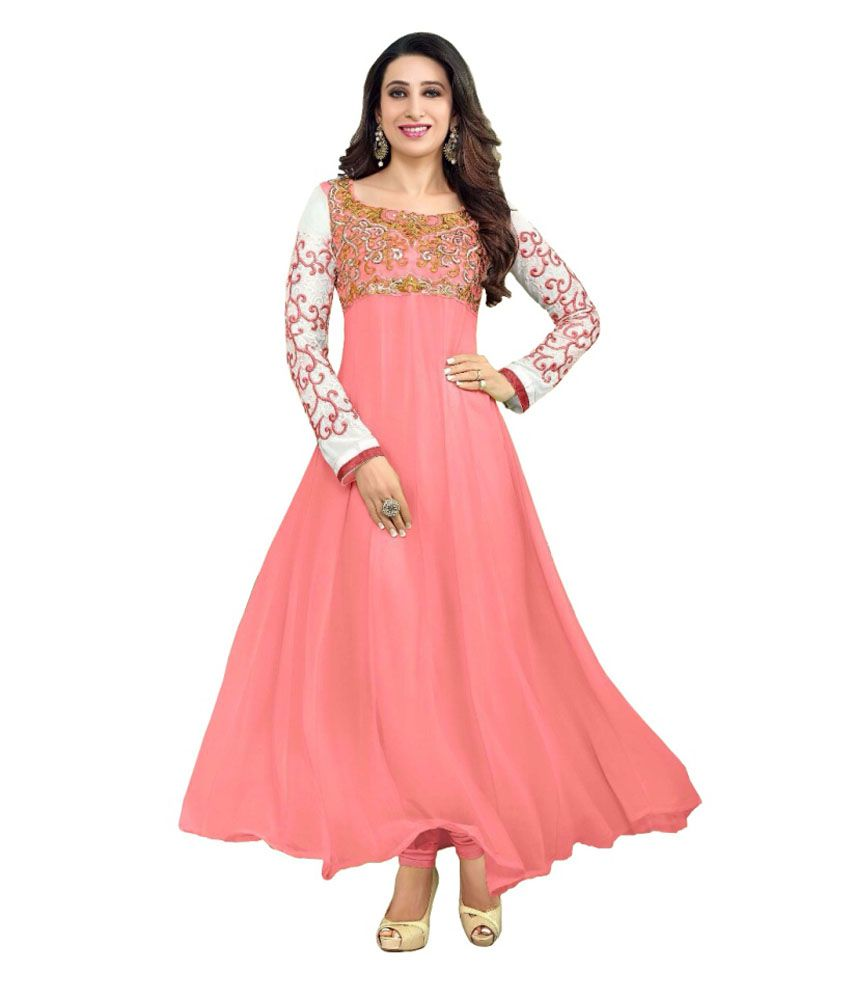 Palav Peachpuff Faux Georgette Embroidered Dress Material