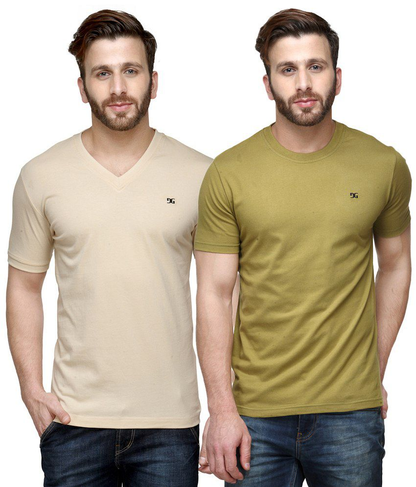 Dazzgear Combo of Beige & Green Round Neck T-Shirt and V Neck T-Shirt