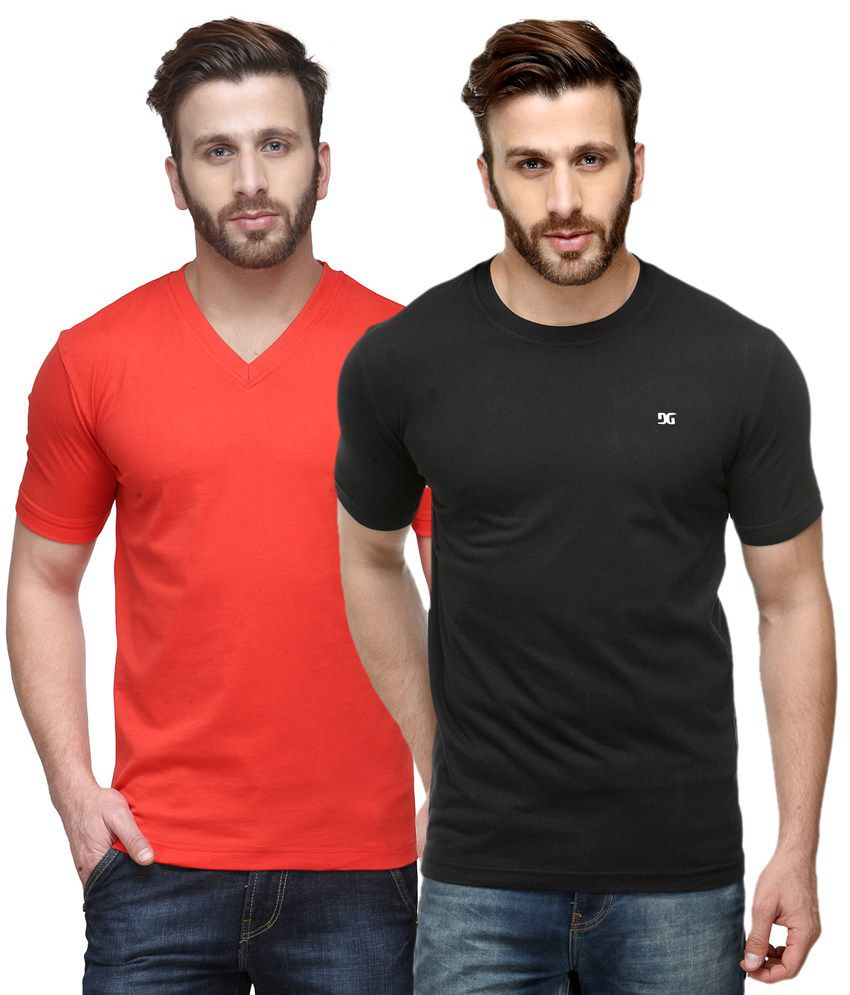 Dazzgear Combo of Red & Black Round Neck T-Shirt and V Neck T-Shirt