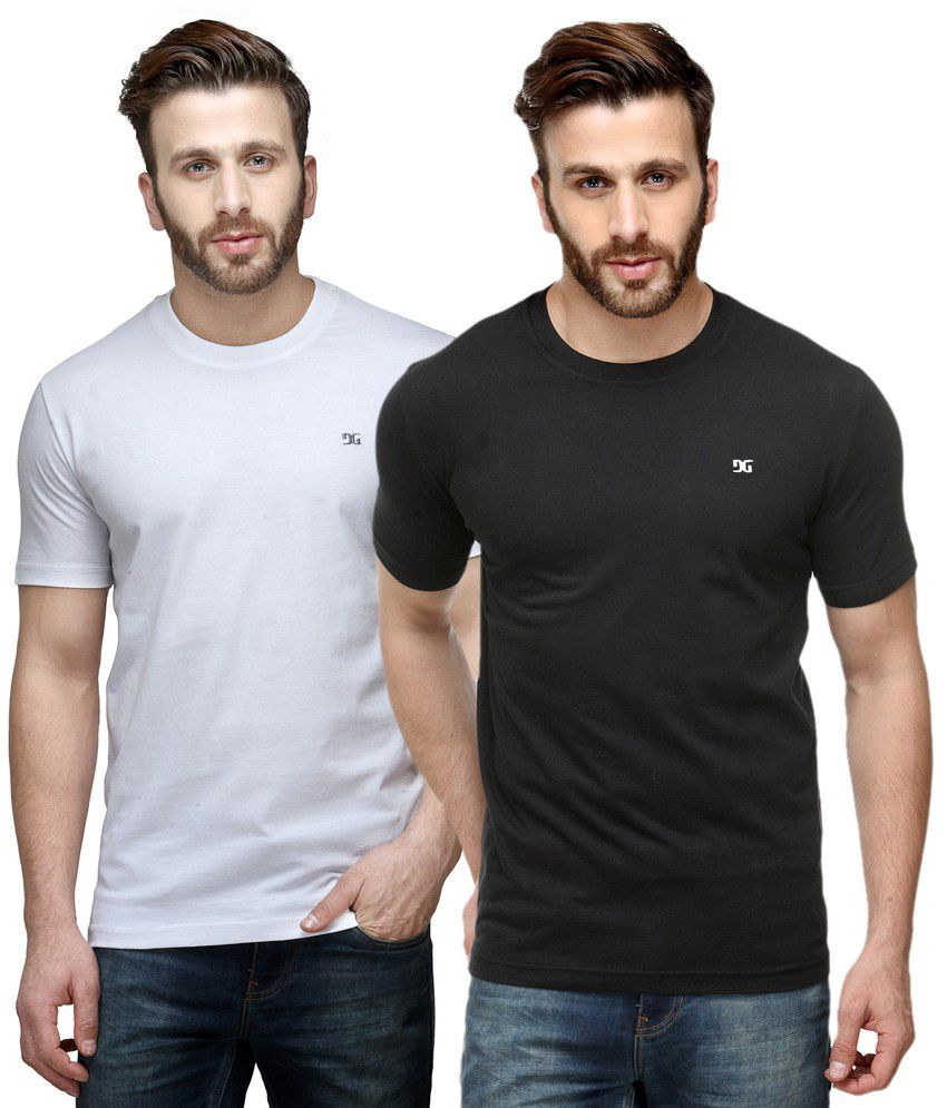 Dazzgear Combo of White & Black Round Neck T-Shirts