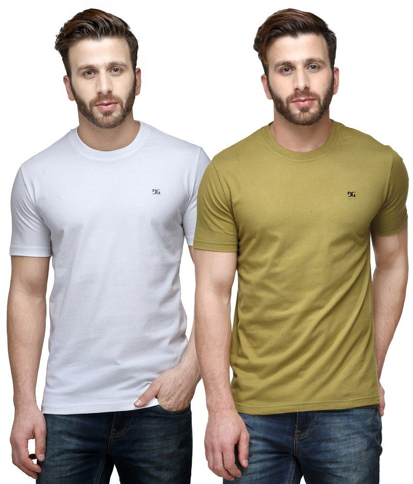 Dazzgear Combo of White & Green Round Neck T-Shirts