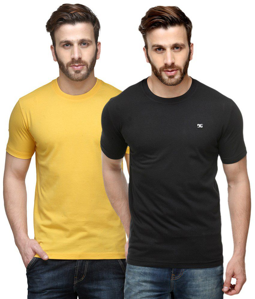 Dazzgear Combo of Yellow & Black Round Neck T-Shirts