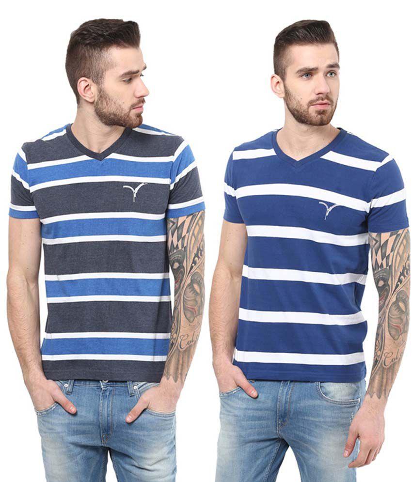 Monteil & Munero Blue Half Sleeves Cotton V-Neck T-Shirts (Pack of 2)