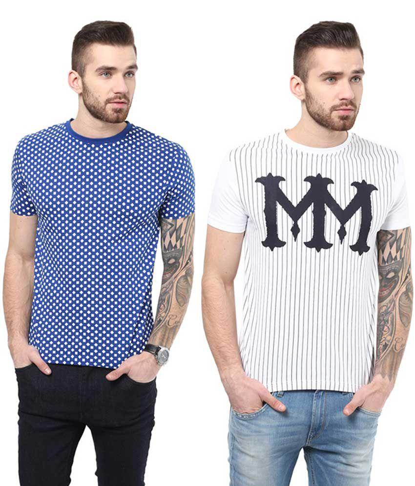 Monteil & Munero Blue & White Cotton Round Neck T-Shirt (Pack of 2)
