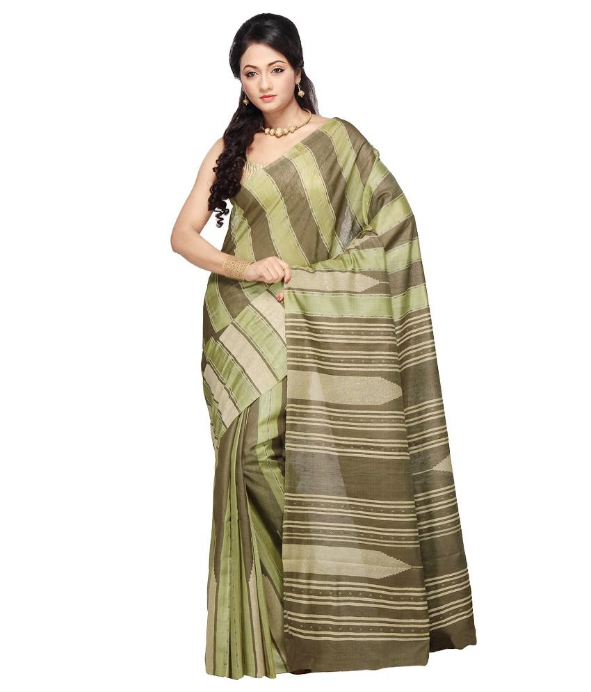 Utsav Fashion Olive Green Pure Tussar Silk and Pure Matka Silk Saree with Blouse