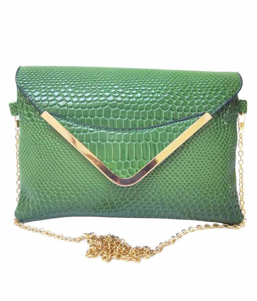 Bebo-Trendz P.U. Green Sling Bag